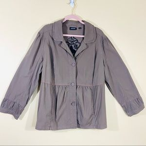 Avenue Brown Button Down Gathered Jacket Coat